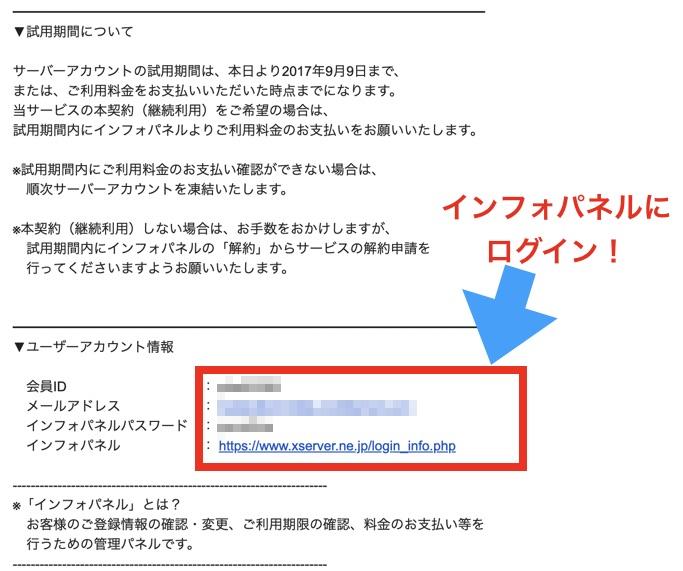インフォパネルへのログイン情報